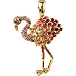 Wearable Art By Roman Rose Gold Tone Flamingo Pendant