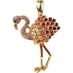 Wearable Art By Roman Rose Gold Tone Flamingo Pendant