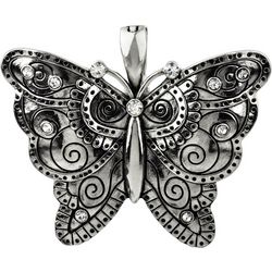 Wearable Art By Roman Etched Silver Tone Butterfly Pendant