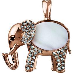 Wearable Art By Roman Rose Gold Tone White Elephant Pendant