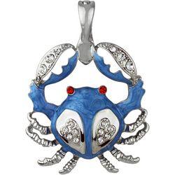Wearable Art By Roman Rhinestone Blue Crab Pendant