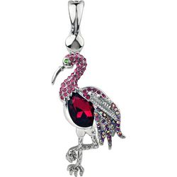 Wearable Art By Roman Pink Rhinestone Flamingo Pendant