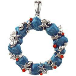 Wearable Art By Roman Coastal Holiday Wreath Pendant