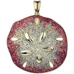Wearable Art By Roman Red Glitter Sand Dollar Pendant