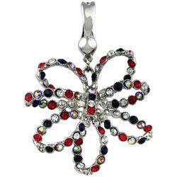 Wearable Art By Roman Rhinestone Jeweled Rose Pendant