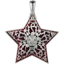 Wearable Art By Roman Red & Silver Filigree Star Pendant