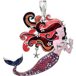 Wearable Art By Roman Pink Multi Mermaid Pendant