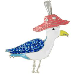 Wearable Art By Roman Rhinestone & Enamel Seagull Pendant
