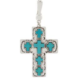 Wearable Art By Roman Turquoise Blue Cross Pendant