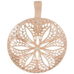 Wearable Art By Roman Rose Gold Tone Flower Disc Pendant