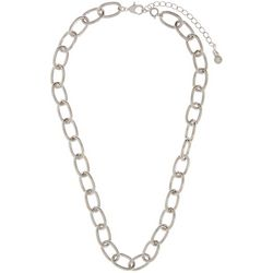 Wearable Art By Roman Polished Silver Tone Links Necklace