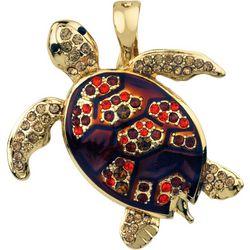 Wearable Art By Roman Rhinestone Turtle Pendant