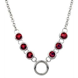 Wearable Art By Roman Silver Tone & Red Necklace