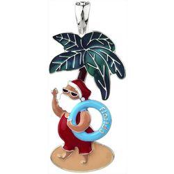 Wearable Art Holiday Beachy Santa Pendant