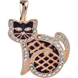 Wearable Art By Roman Rose Gold Tone Cat Pendant