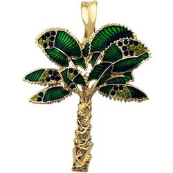 Wearable Art By Roman Rhinestone & Green Palm Tree Pendant