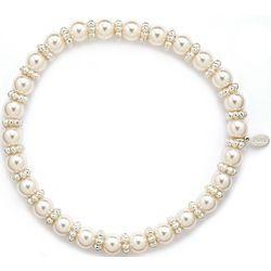 Roman Pearlescent Rondelle Stretch Bracelet