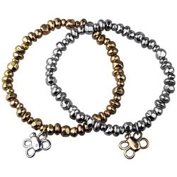 Bella UNO Bee Charm Beaded Two Tone Stretch Bracelet Set