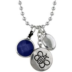Bella UNO Silver Tone & Sodalite Blue Charm Necklace