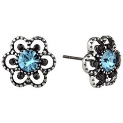 Roman Aqua Blue Marcasite Flower Stud Earrings