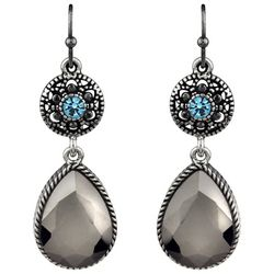 Roman Aqua Blue Marcasite Teardrop Earrings