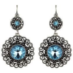 Roman Aqua Blue Marcasite Double Disc Earrings