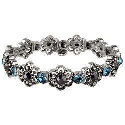 Roman Aqua Blue & Marcasite Small Flower Stretch Bracelet