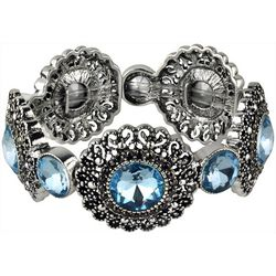 Roman Aqua Blue & Marcasite Flower Stretch Bracelet