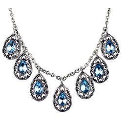 Roman Aqua Blue & Marcasite Teardrop Necklace