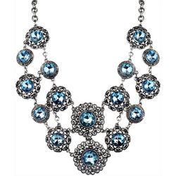 Roman Aqua Blue Marcasite Statement Necklace