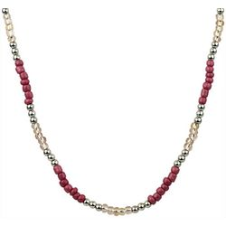 Wearable Art By Roman Pink & Silver Tone Beaded Necklace