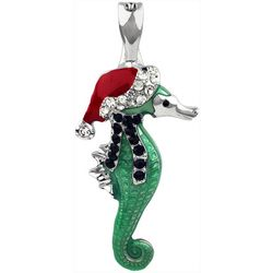 Wearable Art By Roman Holiday Santa Seahorse Pendant