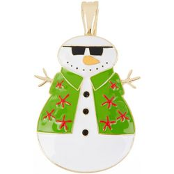 Wearable Art By Roman Coastal Snowman Pendant