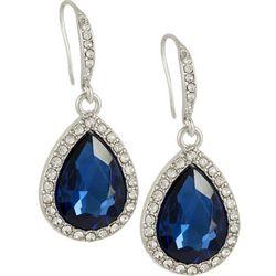 Roman Midnight Blue Teardrop Rhinestone Earrings