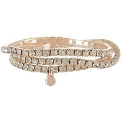 Roman Pave Rhinestone Rose Gold Tone Stretch Bracelet Set