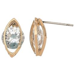 HOWARD'S CZ Dazzler Gold Tone Marquis Frame Stud Earrings