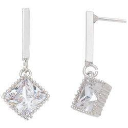HOWARD'S Silver Tone Post Top Square CZ Drop Earrings