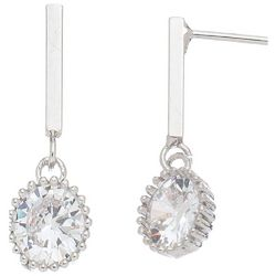 HOWARD'S Silver Tone Post Top Round CZ Drop Earrings