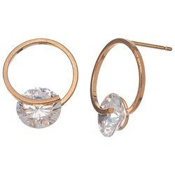 HOWARD'S Circle Frame Gold Tone Post Top CZ Earrings