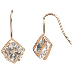HOWARD'S Gold Tone Frame Cubic Zirconia Dangle Earrings