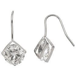 HOWARD'S Silver Tone Frame Cubic Zirconia Dangle Earrings
