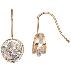 HOWARD'S CZ Dazzler Gold Tone Round Frame Drop Earrings