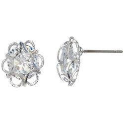 HOWARD'S CZ Dazzler Flower Frame Stud Earrings