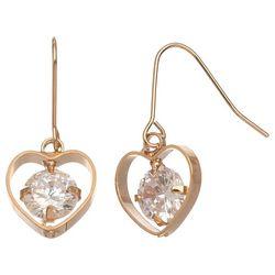 HOWARD'S Cubic Zirconia Dazzler Heart Frame Earrings