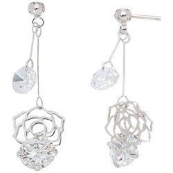 HOWARD'S Post Top Double CZ Rose Drop Earrings