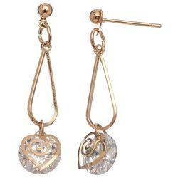 HOWARD'S CZ Dazzler Swirl Heart Gold Tone Earrings