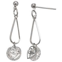HOWARD'S Cubic Zirconia Dazzler Swirl Heart Earrings