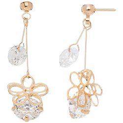 HOWARD'S Post Top Double CZ Daisy Drop Earrings