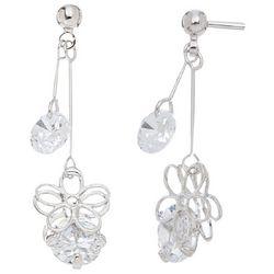 HOWARD'S Silver Tone Double CZ Daisy Drop Earrings