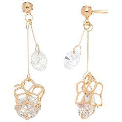 HOWARD'S Gold Tone Double CZ Hibiscus Drop Earrings
